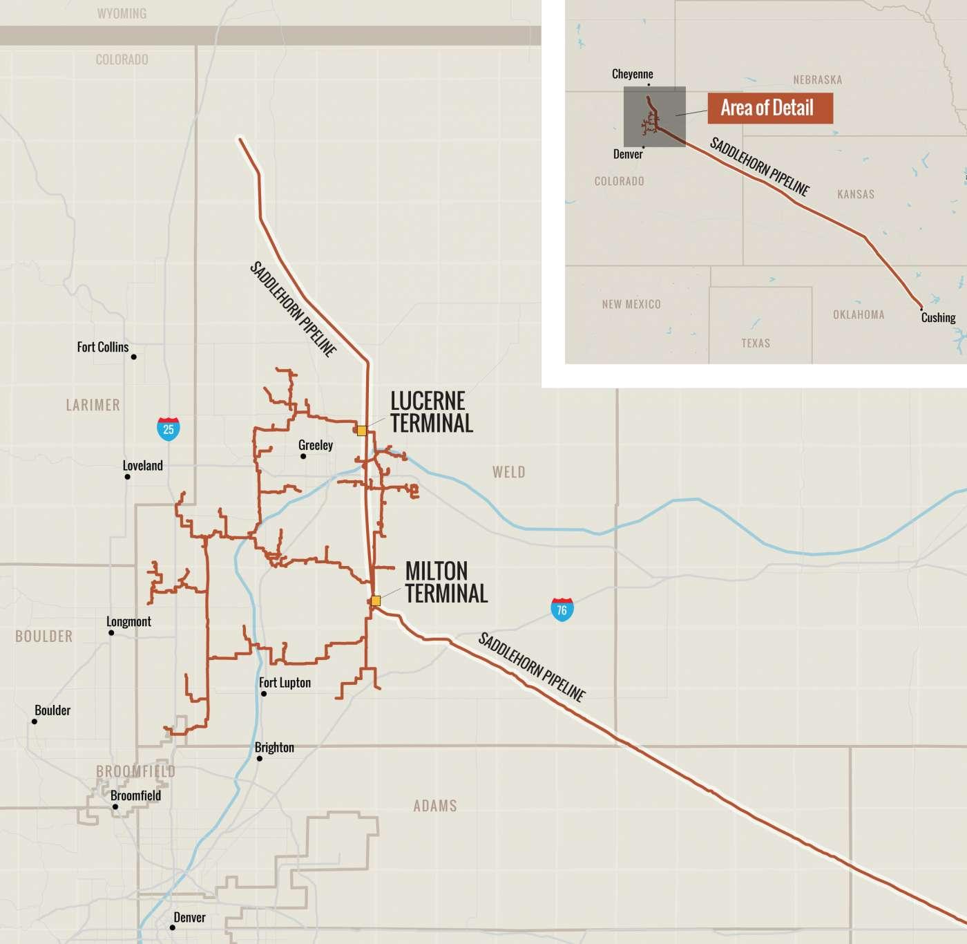 Map of Black Diamond Gathering System and Saddlehorn Pipeline